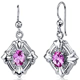 Victorian 2.00 Carats Created Pink Sapphire Dangle Earrings Sterling Silver Rhodium Nickel Finish