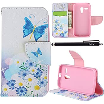 Moto G Case (1st Gen), iYCK Premium PU Leather Flip Folio Carrying Magnetic Closure Protective Shell Wallet Case Cover for Moto G (1st Gen) with Kickstand Stand - Butterfly Blossom