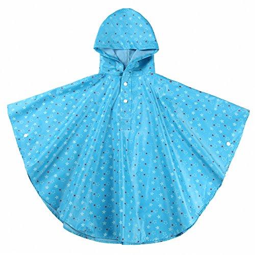Spring Fever Kids Hooded Printed Backpack Snaps Rain Poncho Jacket Raincoat
