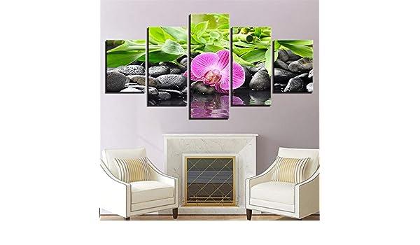 SUYUN Pintura Decorativa, Flores y Piedras Wulian bambú Hoja ...