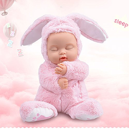 BIEBER Baby Child Gift Lifelike Realistic Reborn Sleeping Baby Doll Premium Soft Plush Toy (Pink) by BIEBER (Image #2)