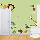 Simoshaw Jungle Wild Animal Monkeys Birds Lion Giraffe Mushrooms Wall Stickers Removable Wall Decal for Kids Baby Nursery Room Children's Bedroom