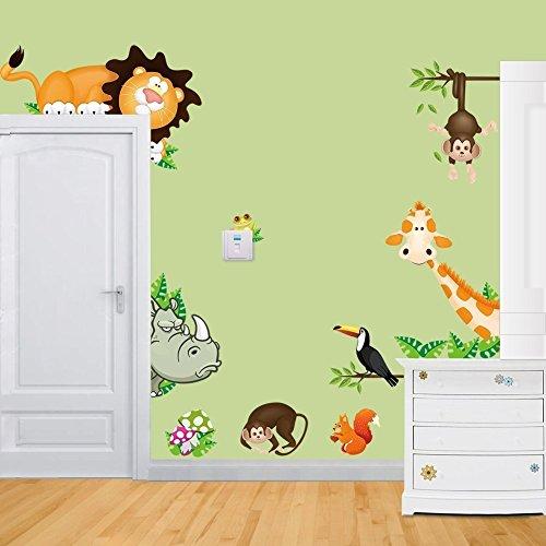 AWAKINK(TM) Jungle Wild Animal Monkeys Birds Lion Giraffe Mushrooms Wall Stickers Removable Wall Decal for Kids Baby Nursery Room Children's (Giraffe Lion Bird)