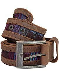 Men's Two Row Stitch Thick Leather with Típico Accents Belt Handmade by Hide & Drink :: Tropical Blue