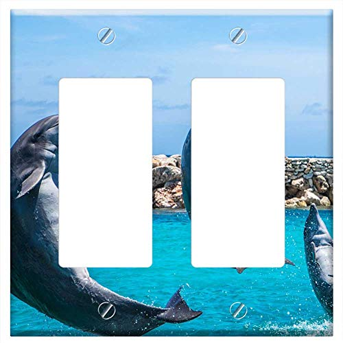 Switch Plate Double Rocker/GFCI - Dolphins Aquarium Jumping Fish Animal Ocean Water 1