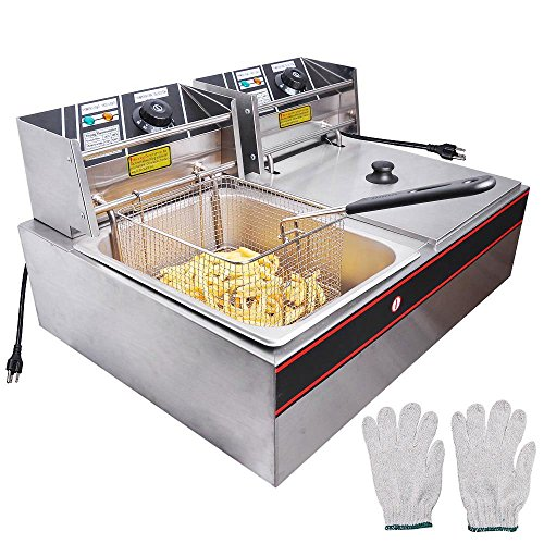 Generic 5000W 12 Liter Electric Countertop Deep Fryer Dual Tank 6 Commercial Restaurant