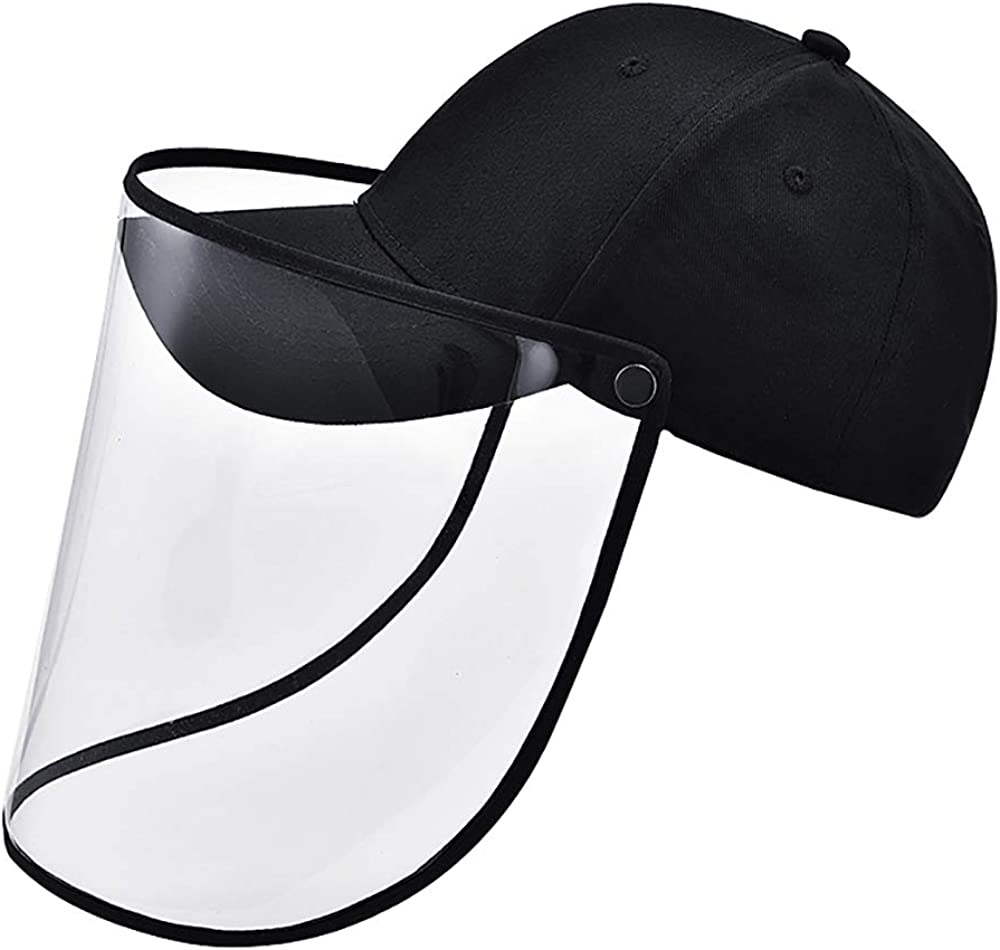 Baseball Caps Anti-Spitting and Anti-Saliva Protective Full Transparent Removable Mask Fisherman Outdoor with Clear Face Shield Anti-Dust Hats for Sports Travel Gardening Adjustable Size Unisex