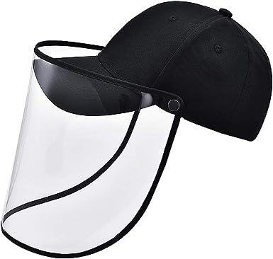 hunteen Gorras de Hombre de Beisbol Gorra Antipolvo Tapa Protectora Gorra con Máscara Facial Transparente Impermeable Antiescupir Ajustable Unisex para Deporte al Aire Libre Extraíble Negro: Amazon.es: Ropa y accesorios