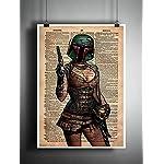 Boba Fett pin up girl, star wars art, sexy star wars, cool pop art, vintage dictionary art print 8