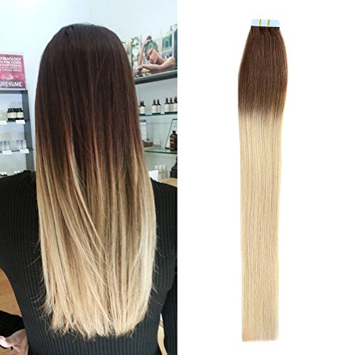 TheFashionWay 16-24 Inches 100% Real Human Hair Extensions Tape in Silky Straight Weft Remy Virgin Hair Various Colors For Choosing (16 inches, #2-613 ombre)