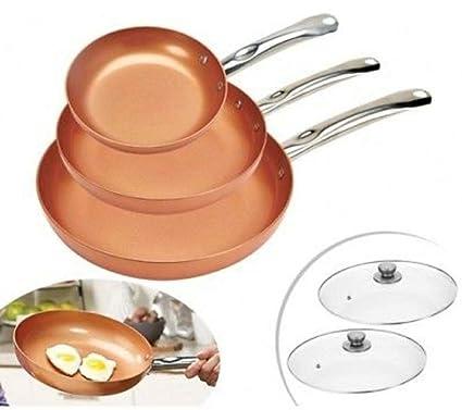 Aone Set 5 Piezas 3 SARTENES Cobre 2 Tapas Copper SARTÉN Antiadherente INDUCCIÓN