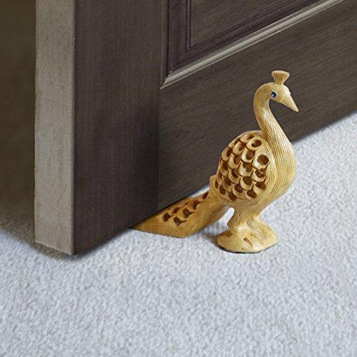 Store Indya Decorative Wooden Door Stopper Doorstop Holder Hand Carved Floor Blocker Closers Jammer Home Furniture Decor - Terrace Clay Stores