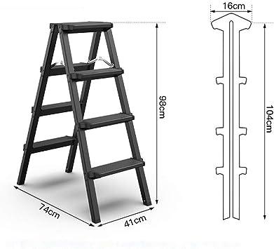 Escalera de 4 escalones, taburete plegable de cocina, escaleras de aluminio ligero, banco de trabajo doméstico tipo A con pies antideslizantes, en ambos lados 2 x 4 etapas: Amazon.es: Bricolaje y herramientas