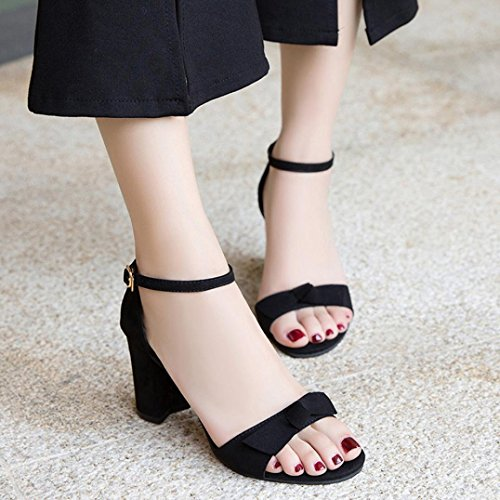 VEMOW High Heels for Women, for Work Utility Footwear Gladiator Closed Toe Platform Sparkly Roman Sandals Party Club Office Court Shoes, Bow Solid Color Dull Polish Square Toe Shoes Black