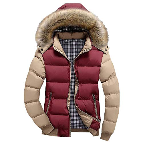 Winter Thicken Coat Quilted Patchwork Outwear Tops Puffer Jacket with Removable Hood ()