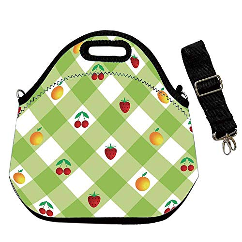 (Checkered Neoprene Lunch Bag,Fresh Ripe Fruits Summertime Theme with Cherry Strawberry Oranges Decorative for Students Women Office worker,With Shoulder Straps(12.6''L x 6.3''W x 12.6''H)