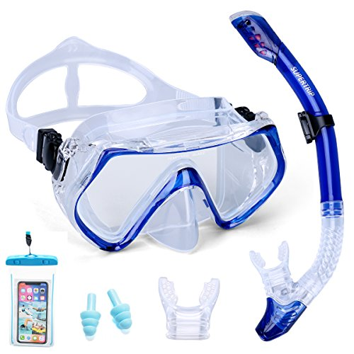 t Adults-Scuba Snorkeling Diving Mask with Impact Resistant Anti-Fog Temperred Glass|Dry Top Snorkel,2 Mouthpieces 1 Waterproof Case Included Blue ()