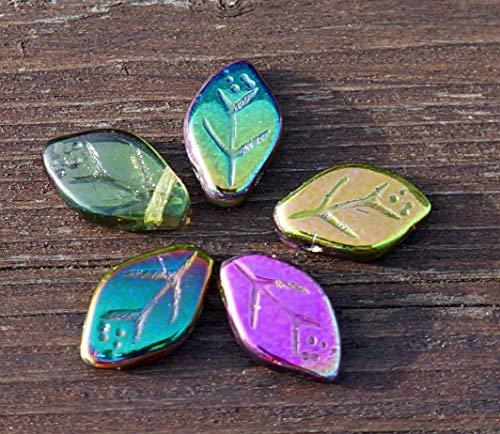 (Luster Iris Spring Mix Multicolor Glass Leaf Beads Czech Leaf Beads Leaf Bead Exclusive Carved Leaf Beads Leaf Beads Carved 12mm x 7mm 20pcs)
