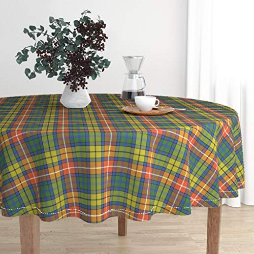 Roostery Round Tablecloth - Buchanan Tartan Buchanan Ancient Tartan Warm Modern Colors Buchanan Buchanan by Weavingmajor - Cotton Sateen Tablecloth 70in