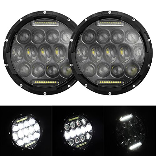 "2x 7"" 75W LED Headlights Bulb Halo DRL for Jeep Wrangler JK CJ LJ Hummer H1 H2 LED Headlamp Projector Driving Lamps"