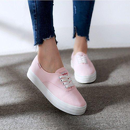 Summerwhisper Womens Fashion Låg Topp Plattform Sneakers Snörning Plimsoll Canvas Skate Skor Rosa
