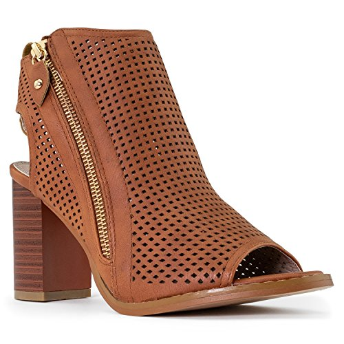 RF ROOM OF FASHION Women's Leatherette Block Chunky Heel Caged Perforated Ankle Bootie Heeled Sandals with Zipper Closure TAN (10)