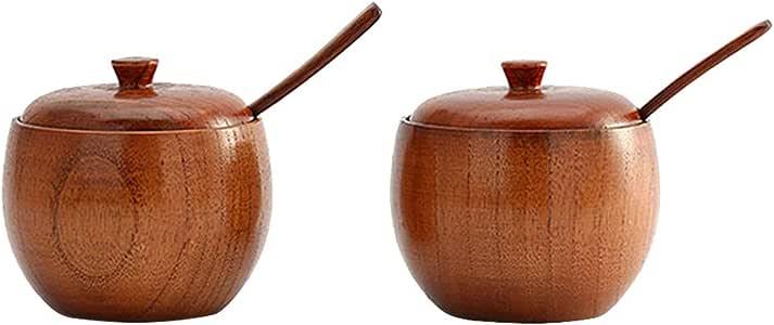 natural Bamboo Table Ware Spice Jar Kitchen Supplies Seasoning Sauce Pot with Lid Bowl Salt Shaker Box Tin