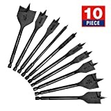 "WORKPRO 10-Piece Pro Spade Drill Bit Set- Black Coating, Premium Carbon Steel, Paddle Flat Bits for Woodworking, Assorted Bits 1/4"" to 1-1/2"" with Storage Case"