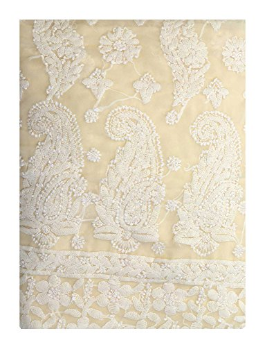 Exotic India Off-White Salwar Kameez Fabric With Lukhnavi Chikan Embroidery All Over