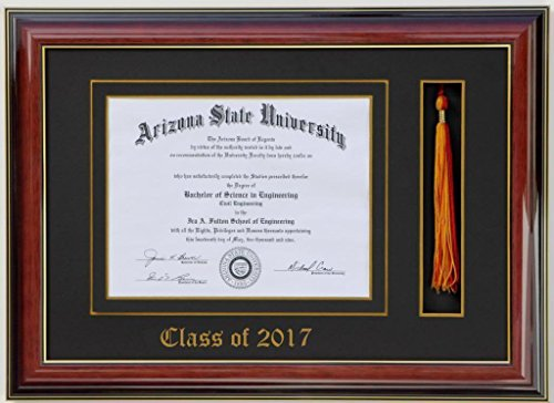 Diploma Tassel frame 8x6 Mahogany/Black 2017 (Customizable)