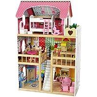 COIL Himbeerresidenz, Holzpuppenhaus mit Möbeln, Puppenhaus holz, Traumvilla, Plus-gratis 2 Puppen.