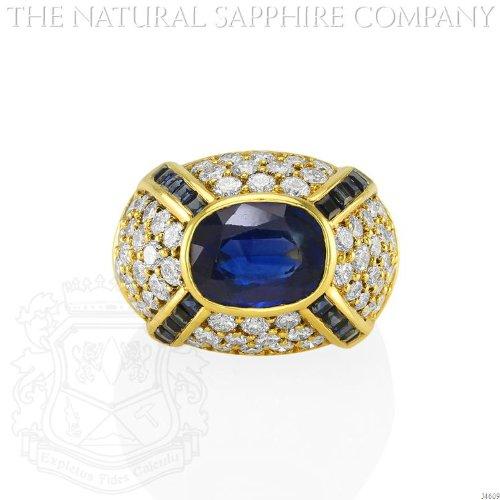 Classic 18K Yellow Gold, Sapphire and Diamond Bombe Ring. (J4609) ()