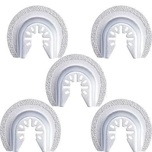 (GracePainter 5 PCS 2-1/2-Inch Semi-circular Multi Tool Oscillating Tool Saw Blades,Universal Oscillating Diamond Grout Saw Blade,Fit for Black & Decker,Bosch,Craftsman,Chicago,Cougar,DeWalt and More)