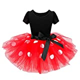 Birdfly Little Girls Ballerina Polk Dots Tutu Dress with Bowknot Toddler Kids Dance Party Outfits (6T, Red)