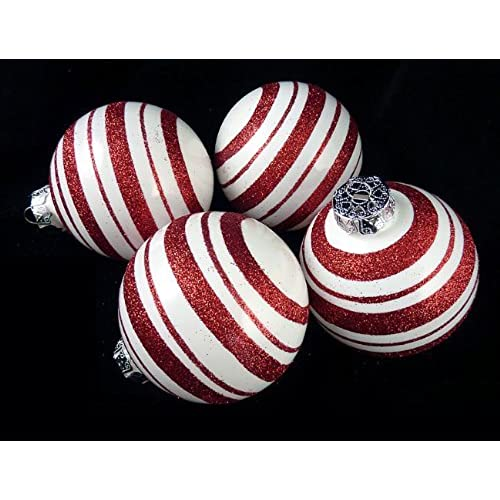 4ct peppermint twist candy cane shatterproof christmas ball ornaments 3 75mm - Peppermint Christmas Decorations