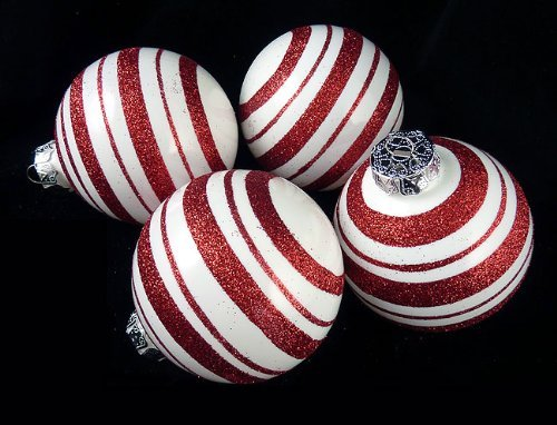 4ct Peppermint Twist Candy Cane Shatterproof Christmas Ball