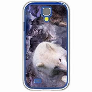Personalized Samsung Galaxy S4 SIV 9500 Back Cover Diy PC Hard Shell Case Wolf White