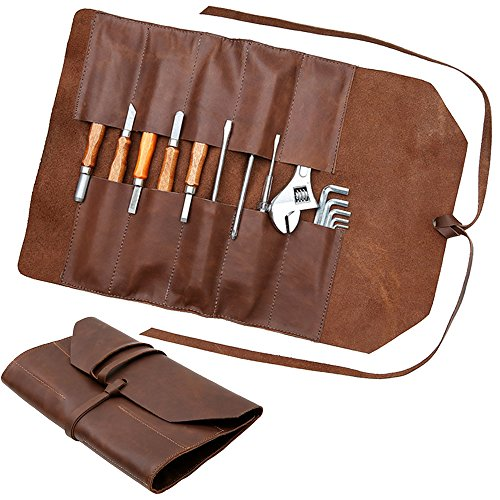 Handmade Leather Roll Tools Bag - 10 Waterproof Pockets by American Legend Rider