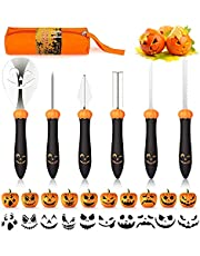 Halloween Pumpkin Carving Kit - 6 Pcs Pumpkin Cutting Tools Stainless Steel Sculpting Set with Carrying Case for Halloween Decoration Jack-O-Lanterns