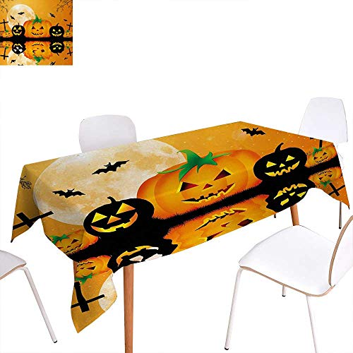 Warm Family Halloween Rectangular Tablecloth Spooky Carved Halloween Jack o Lantern and Full Moon with Bats and Grave Lake Oblong Wrinkle Resistant Tablecloth 60