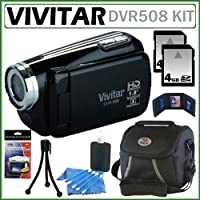 Vivitar DVR508 High Definition Digital Video Camcorder in Black + 8GB Accessory Kit