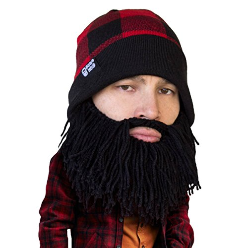 Beard Head Plaid Lumberjack Beard Beanie -Funny Knit Hat and Fake Beard Facemask Black]()