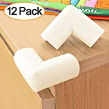 BABY MATE 12 PCS Beige High Density Foam Baby Corner Guards - Table Corner Protectors for Baby Safety Corner Guards Bumpers - Corner Cushion Guards Baby Furniture Safety Bumpers -Corner Protector Baby