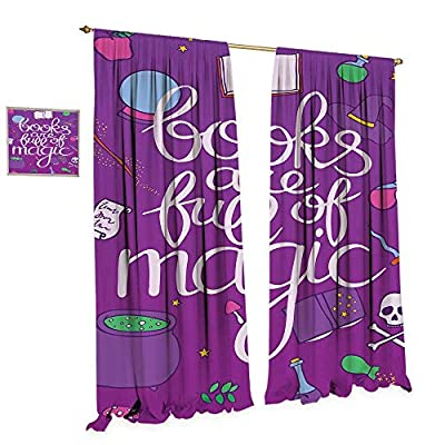 cobeDecor Book Blackout Window Curtain Books are Full of Magic Wording Printed on Purple Background with Objects of a Witch Customized Curtains W72 x L84 Multicolor