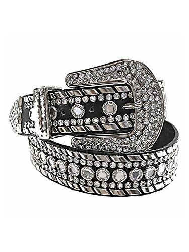 Black Rhinestone Studded Western Belt For Women Size Large (Patent Leather Covered Buckle Belt)