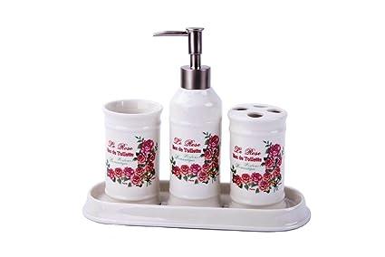 Scopini Da Bagno Ceramica : Gmmh casa di campagna rose vintage set da bagno set di accessori