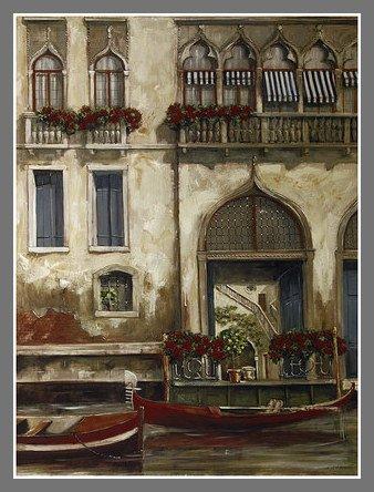 Fabrice De Villeneuve Venice Canal Blue Door Poster Art Print in ...