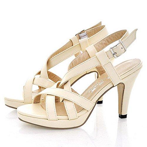TAOFFEN Mujer Gladiador Peep Toe Sandalias Tacon Embudo Tacon Alto Strappy Zapatos Beige