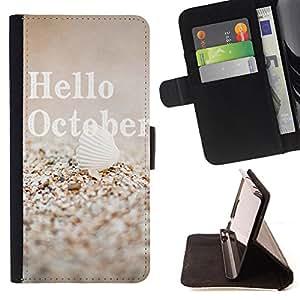 Devil Case- Estilo PU billetera de cuero del soporte del tir¨®n [solapa de cierre] Cubierta FOR Samsung Galaxy S4 IV I9500 i9508 i959- Hello October