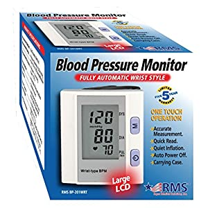 RMS FDA Approved Digital Auto Wrist Blood Pressure Monitor & Heart Rate Monitor with Jumbo LCD 120 Memories